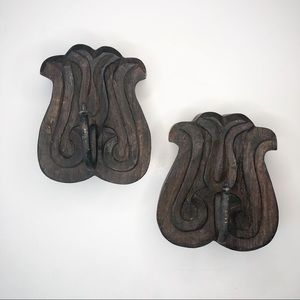 Two Carved Wood and Iron Wall Hooks
